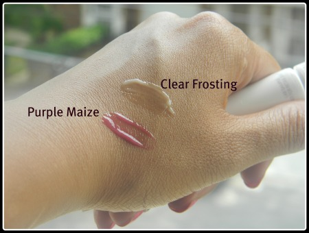 Intelligent Nutrients lip gloss swatch purple maize and clear frosting