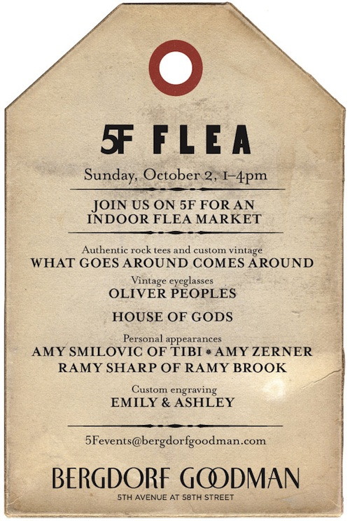 Bergdorf Goodman Indoor Flea Market this Sunday October 2nd, 2011 from 1-4PM