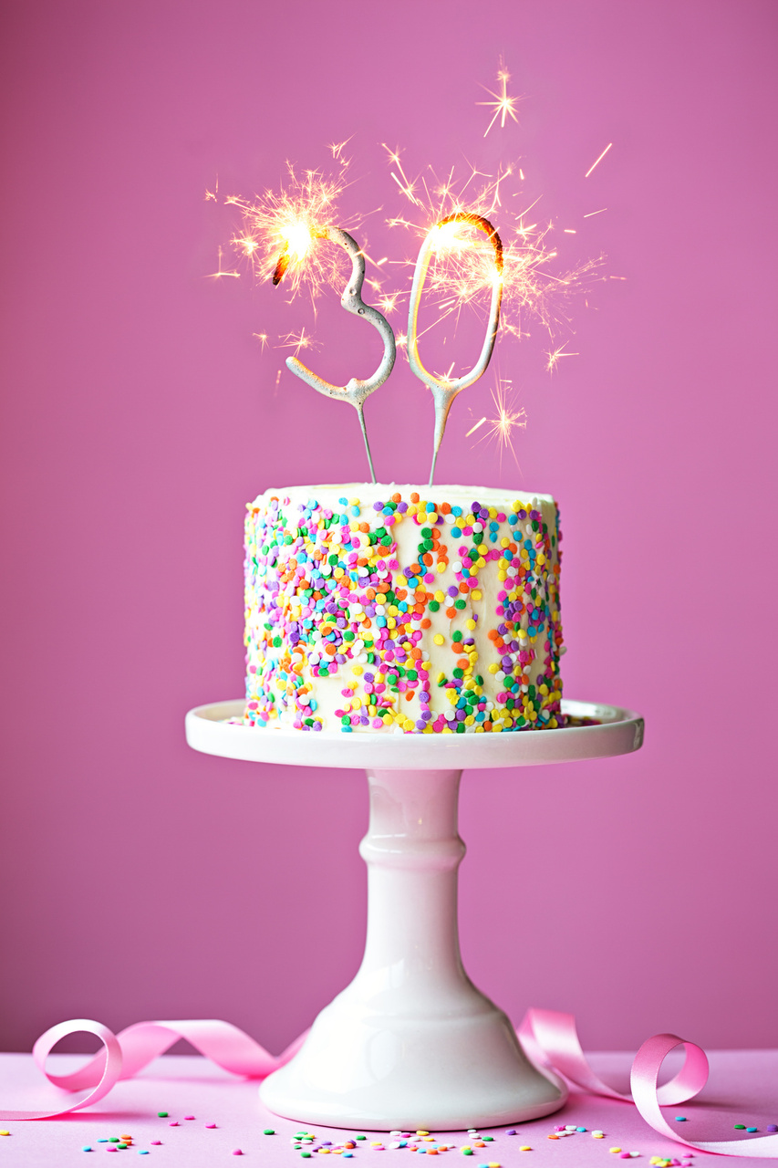 30th birthday cake with sparklers