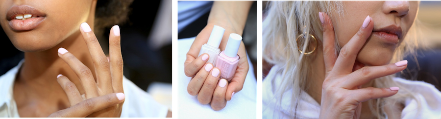 Alexander Wang's Fall/Winter 2016 collection, Michelle Saunders for essie created a soft nail, inspired by pink chalk. To achieve the look she layered tuck it in my tux over fiji, and then applied matte about you to add a matte, chalky finish.