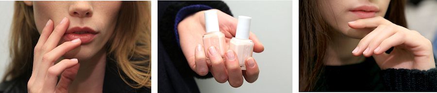 Julie Kandalec for essie created a feminine, soft pink nail by layering sugar daddy over limo-scene. The sheer shades allow the natural nail to shine through with an elegant hint of pink.