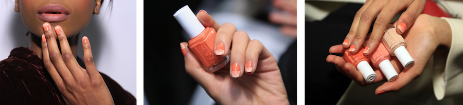 "Michelle Saunders for essie created a warm, coral ""tone on tone"" nail design inspired by the modern music girl. To achieve the look, she used new spring shades sunshine state of mind, lounge lover and high class affair."